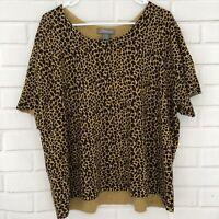SML Women's Beige Black Leopard Print Sweater Top Short Sleeve Plus Size 3X