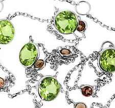 """Round Peridot & Garnet Station By The Yard Necklace 14k White Gold 18"""" Chain"""