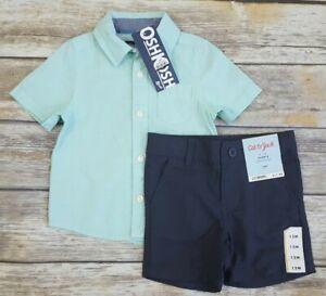 2-Pc LOT Baby Boys 12M Oshkosh Button Down Shirt & Cat & Jack Quick Dry Shorts