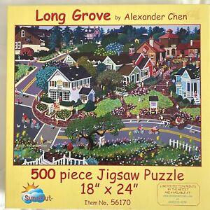 Long Grove 500 Piece Jigsaw Puzzle By Alexander Chen 18x24 Town Landscape