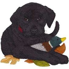 "Black Labrador Puppy Dog, Embroidered Patch 7.3"" x7"""