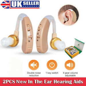 2x Digital Hearing Aid Aids Kit Behind the Ear BTE Sound Voice Amplifier UK!