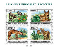 Wild dogs & Cactus dingo fauna Burundi m/s Sc.1382 MNH #BUR13320a