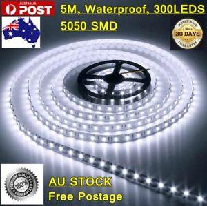 5m LED Strip Lights 12V Waterproof 5050 SMD Cool White 300 LEDs