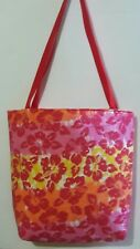 RED FLORAL PRINT TOTE BAG - LARGE
