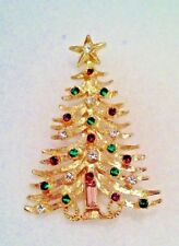 Emerald Cut Amethyst Crystal Christmas Tree Gold Finish Pin - Bohemia