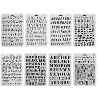 8x DIY Alphanumeric Letter Journal Plastic Planner Stencil Drawing Template Hot