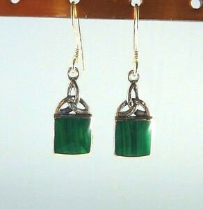 Lab-Created Malachite Sterling Silver Triquetra Celtic Knot Dangle Earrings