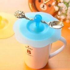 Silicona Cubrir Taza Agua con Soporte Cuchara Antipolvo Tapa Café Succión Sello