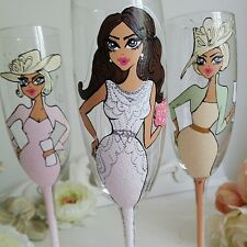 3 x Personalised Hand Painted Wine Glass Champagne Flute Wedding Bridal Gift