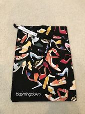 NWT:  Black BLOOMINGDALE'S Shoe Pouch - Colorful Shoe Pattern Black Background