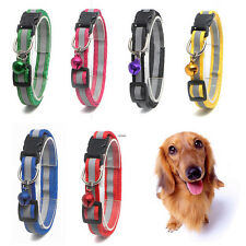 Pet Dog Puppy Cat Reflective Glossy Collar Safety Buckle with Bell Adjustable
