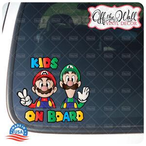 "Mario and Luigi ""Kids On Board"" Sign Printed Die-cut Vinyl Sticker for Vehicles"