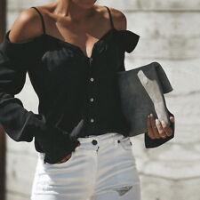 Womens Cold Off Shoulder Tops T Shirt V Neck Long Sleeve Summer Top Blouse GW