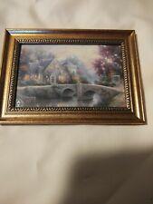 Thomas Kinkade Lamplight Manor in 5x7 Gold Frame Tabletop/Wall