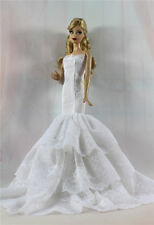 White Royalty Mermaid Dress Party Dress/Clothes/Gown For Barbie Doll S515