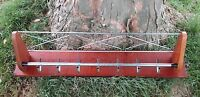 vintage mid Century Industrial Wood coat Hat rack 7 hooks Lovely