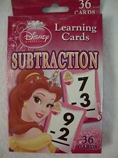 NEW Disney Princess Learning Flash Cards 36 Two Sided Subtraction Math 0-12 72