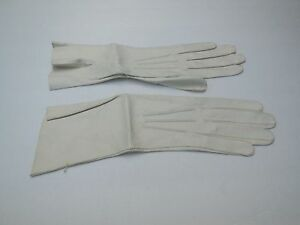 **REAL KID LADIES CREAM LEATHER GLOVES UNLINED SIZE 6.5