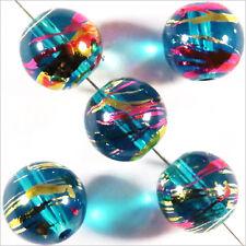 Lot de 20 perles en verre Décorées 10mm Bleu Azur 10mm