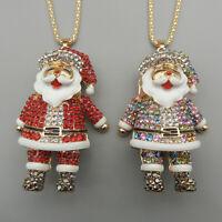 Betsey Johnson Red/Multi-Color Crystal Enamel Santa Claus Pendant Long Necklace