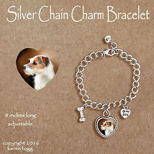 Jack Russell Terrier Dog Wire Fawn - Charm Bracelet Silver Chain & Heart