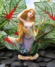 Miniature Fairy Garden Kneeling Mermaid w/ Purple Tail - Buy 3 Save $5
