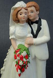 Ceramic Cake Topper Wedding Couple 5.5in Bride Groom White Tux Dress Red Roses