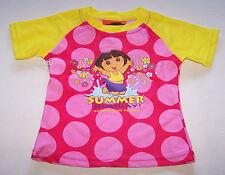 Dora The Explorer Girls Pink Yellow Printed Rash Vest Size 3 New