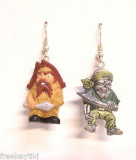 "Pirate Pirates Curse w/ One-Eyed Willy & Scurvy Mini 1"" Figures Dangle Earrings"