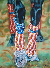 "Americana Equestrian horse racing Derby print art  Flag USA  with Mat 11""X14"""