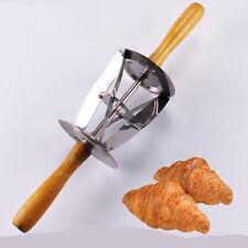 Wooden Handle Stainless Steel Croissant Maker Trigon Rolling Dough Knife Cutter