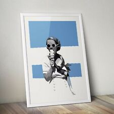 ICE CREAM VINTAGE MODERN POP ART A3 BLUE POSTER PRINT - LIMITED EDITION OF 100