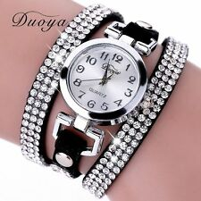 2017 Women Bracelet Crystal Leather Watch Dress Analog Quartz Wrist Watches F0
