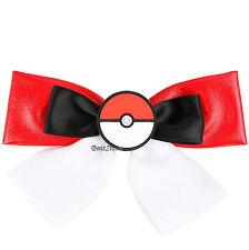 Pokemon GO POKEBALL POKE BALL Hair Bow Pin Cosplay Costume Dress-Up RED WHITE