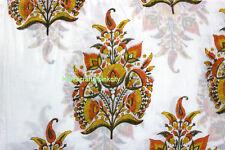 5 Yards soft Cotton Indian  Yellow Flower Soft Hand Block printed fabric MHGB24