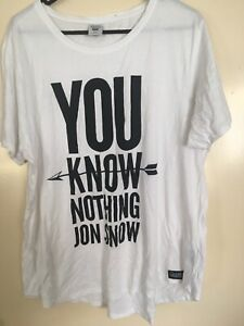 Game Of Thrones GOT Jon Snow Authentic Brand White T Shirt Size 22 New