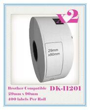 2 Rolls Compatible DK11201 DK 11201 BROTHER Standard Address Label 29mm x 90mm