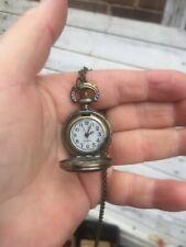 Crown mini pocket watch necklace locket  bronze tone