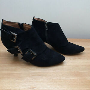 Bertie Black Suede Ankle Boots - Size 39