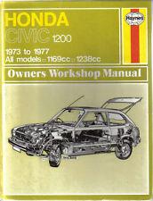 Honda Civic 1200 1973-1977 1169cc & 1238cc Haynes Owners Workshop Manual 1978