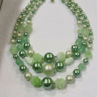 3 Strand Necklace Vintage JAPAN Carved Glass Beads 40's