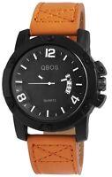 Herrenuhr Schwarz Braun Datum Analog Quarz Leder Armbanduhr D-3187100001500