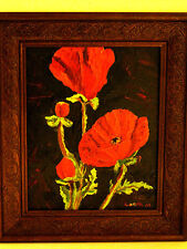 "Original LORNA RITZ 2002  Framed 11"" x 14"" Oil Painting Poppies Poppy Flower Art"