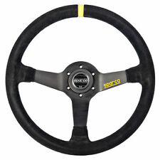 SPARCO R368 COMPETITION STEERING WHEEL BLACK SUEDE Yellow Stripe 65mm Dish 380mm