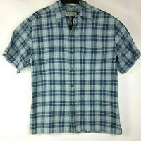 Mens Orvis Short Sleeve Shirt Large Button Down Plaid Blue