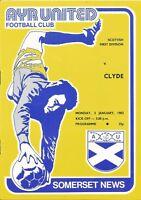 Football Programme - Ayr Utd v Clyde - Div 1 - 3/1/1983