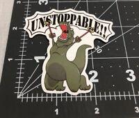 Funny Unstoppable Dinosaur Skateboard Laptop Guitar Decal Sticker