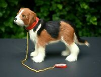 """Rare Bernese Mountain Dog Figure FUZZY w Collar & Gold Leash 9""""L for Dog or DOLL"""