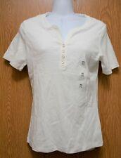 Womens White Karen Scott Short Sleeve Shirt Size PS Petite Small NEW NWT